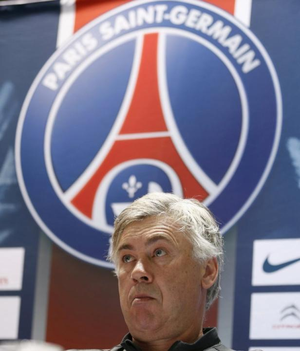 Paris Saint-Germain's head coach Ancelotti attends