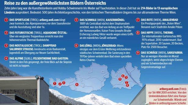 Reise zu den außergewöhnlichsten Bädern Österreichs.