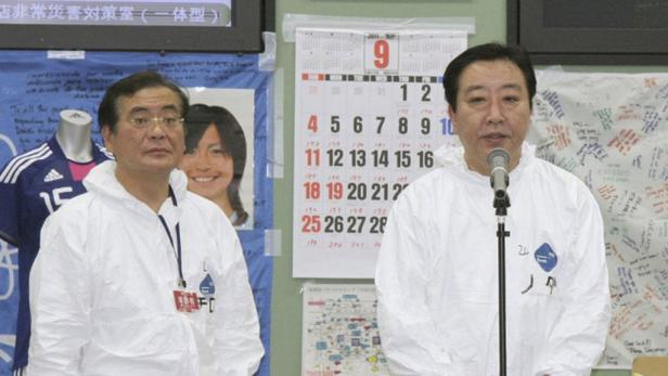 Japans neuer Premier Noda im havarierten Kraftwerk Fukushima.