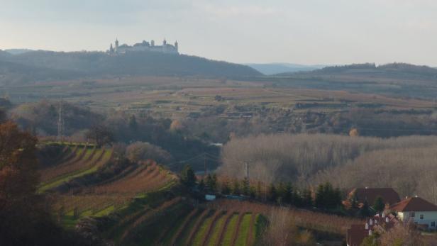 Panoramablick auf Stift und Weinberge