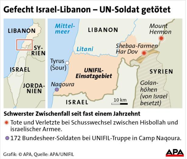 Gefecht Israel-Libanon - UN-Soldat getötet