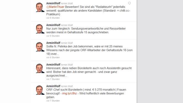 Armin Wolf und andere ORF-Redakteure twittern über die neueste Personalentscheidung von Wrabetz.