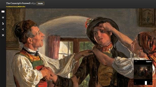 """Mit der Zoomfunktion lassen sich einzelne Ausschnitte in Werken - wie hier in """"Der Abschied des Conscribierten"""" von Ferdinand Georg Waldmüller im Leopold Museum - erkunden."""