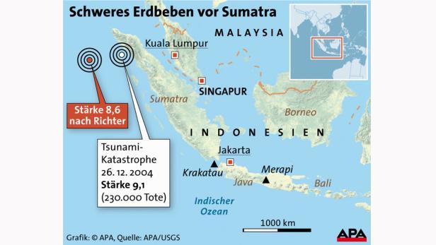Übersichtskarte mit Epizentrum des aktuellen Bebens und Epizentrum des Bebens als Auslöser der Tsunami-Katastrophe 2004