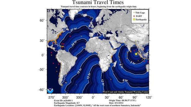 Überblick über den prognostizierten Verlauf des möglichen Tsunamis