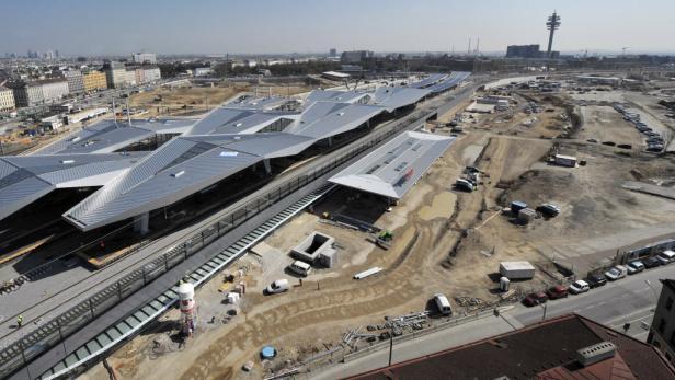Die Baustelle des neuen Hauptbahnhofes, aufgenommen am 04.04.2012