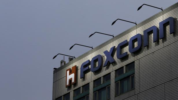 FILE PHOTO The logo of Foxconn is seen on top of t
