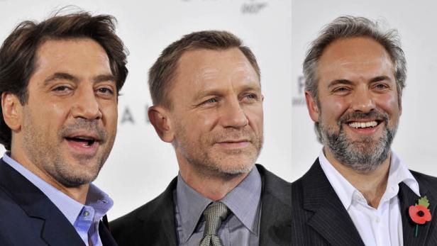 Bösewicht, Bond und der Regisseur: Javier Bardem (links) mit Daniel Craig, Sam Mendes (rechts).
