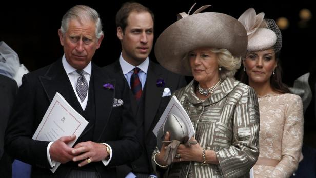 REUTERSBritains (L-R) Prince Charles, Prince William, Camilla, Duchess of Cornwall, and Catherine, Duchess of Cambridge, are pictured on the steps of St Pauls Cathedral after a thanksgiving service to mark the Queens Diamond Jubilee, in central London Jun