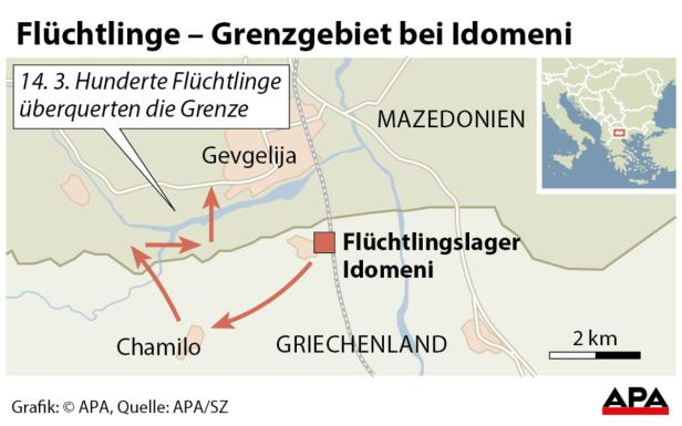 Flüchtlinge - Grenzgebiet bei Idomeni