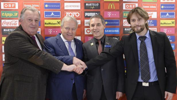 ÖFB-Generaldirektor Ludwig, Präsident Windtner, Teamchef Koller und sein Manager Lamberti