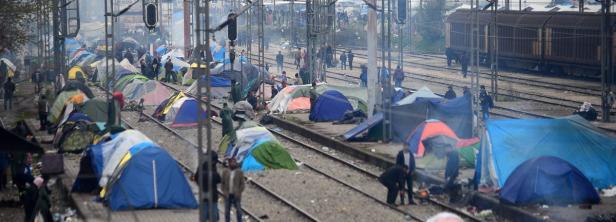 Provisorisches Zeltlager an der griechisch-mazedonischen Grenze nahe Idomeni