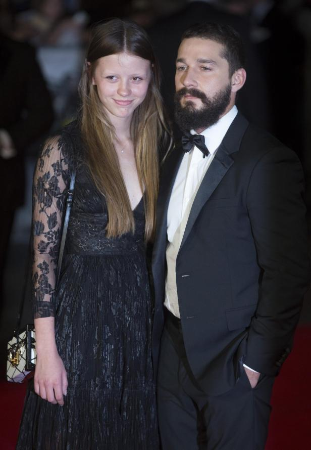 U.S. actor LaBeouf poses with girlfriend Goth befo