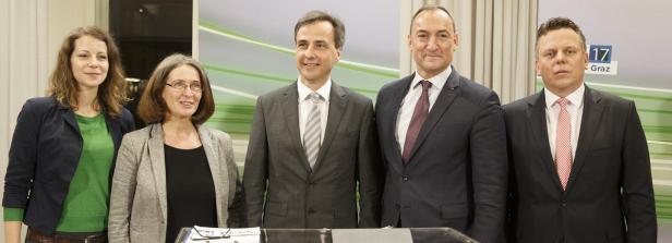 Wirnsberger (Grüne), Kahr (KPÖ), Bgm. Nagl (ÖVP), Eustacchio (FPÖ) und Ehmann (SPÖ)