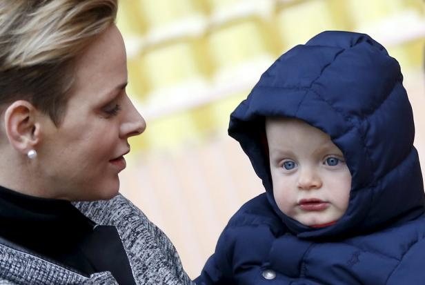 Princess Charlene of Monaco arrives with her son P