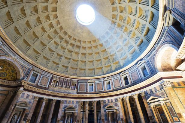 Interior of Pantheon with the famous light ray fro…