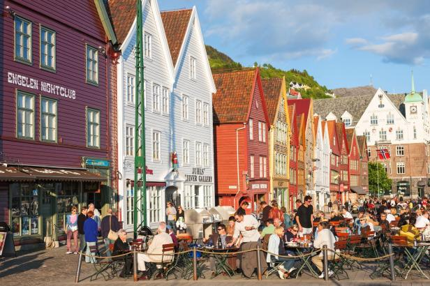 Restaurant at Bryggen in the city of Bergen, Norwa