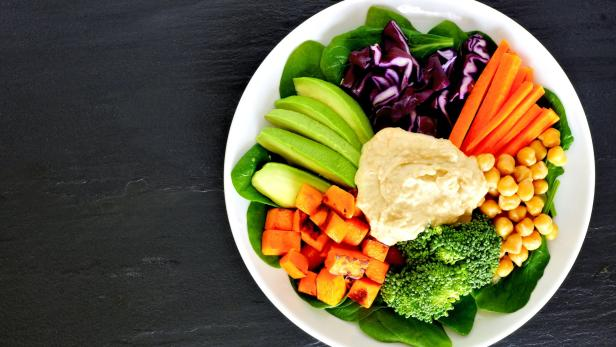 Healthy lunch bowl with super-foods and mixed vege