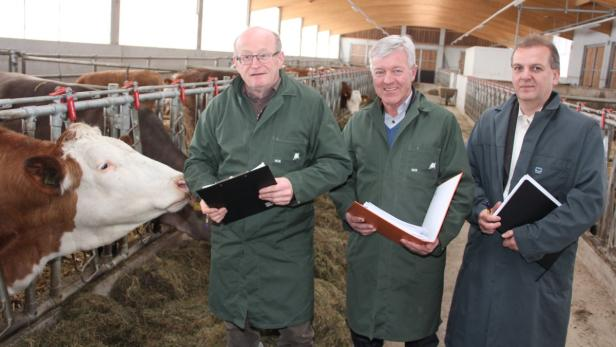 Rinderzuchtmanager Führer (li.) und Ruth (er.) mit Obmann Wagner