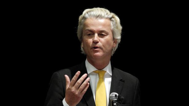 Dutch Parliamentarian Geert Wilders speaks at the