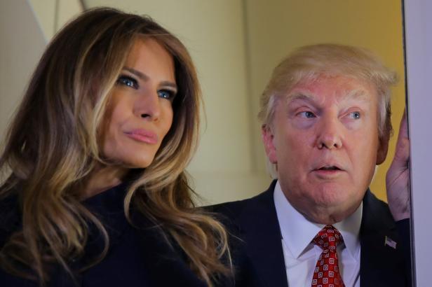 U.S. President Donald Trump talks to journalist me