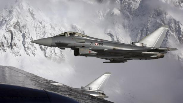 A Eurofighter Typhoon plane of the Austrian Flying