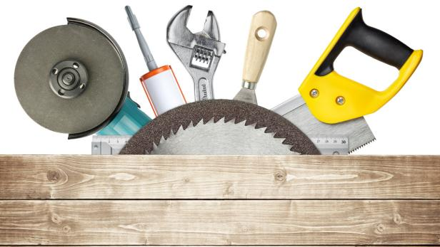 Carpentry, construction hardware tools collage. B…