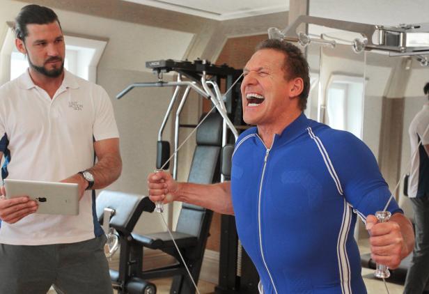 Trainer Fabian Plato mit Ralf Moeller