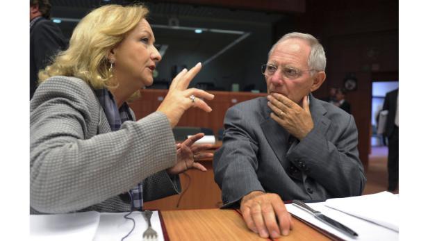 Maria Fekter im Gespräch mit ihrem deutschen Amtskollegen Wolfgang Schäuble.
