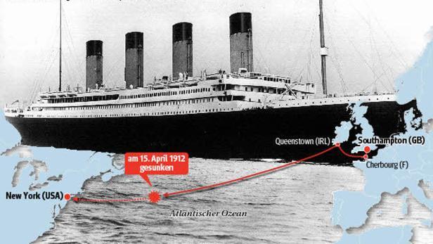 Die Route: Das Schiff war auf dem Weg nach New York, als es sank.