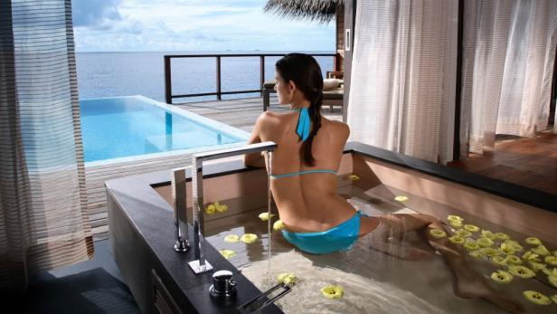 Luxus im Resort Coco Palm Bodu Hithi im Nord-Male-Atoll.