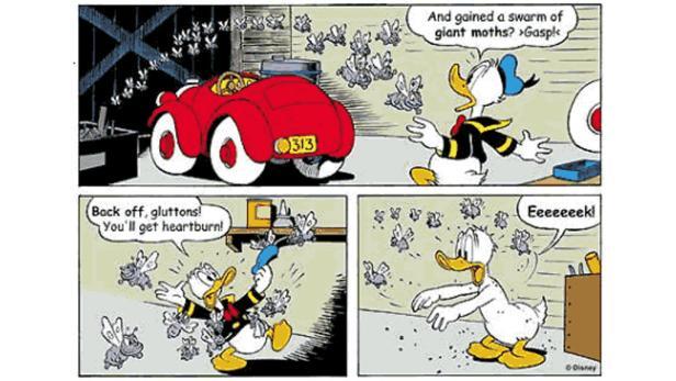 """Bild aus der Geschichte: """" Ein Herz für Stühle"""" von Janett Gilbert/Vicar, nachzulesen in Micky Maus Nr. 26/1999"""