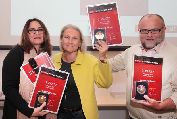 (v.l.n.r.) Dragana Heiermann (KURIER), Nadja Gusenbauer und Eric Berger (LIK Akademie)