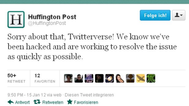 Tweet von Huffington Post nach Hackerangriff am 15.1.2012.