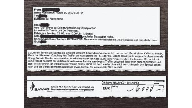 Schriftverkehr: Ein eMail des Ex-Politikers (oben) und ein Auszug aus der Antwort des Ex-Zöglings. Darunter: Der Erlagschein über 6000 Euro.
