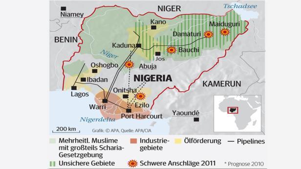 Nigeria Karte.