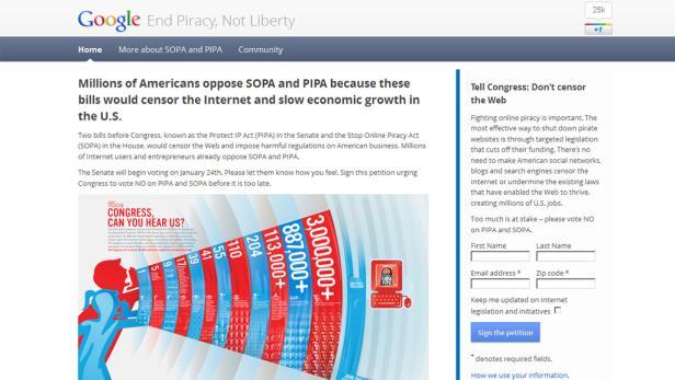 Google-Informationswebseite zum SOPA Blackout Protesttag am 18.1.2012.