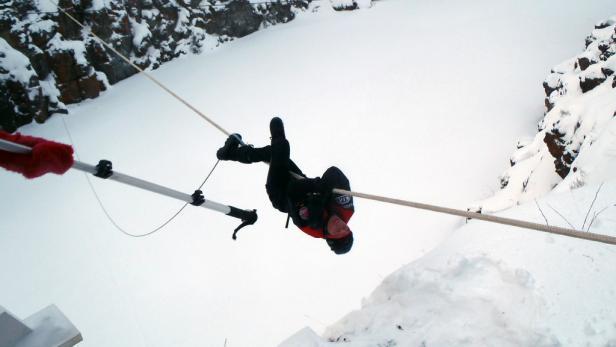 Schmerzverzerrtes Gesicht: Angelika Hohenwarter gab alles, doch stürzte ins Seil.
