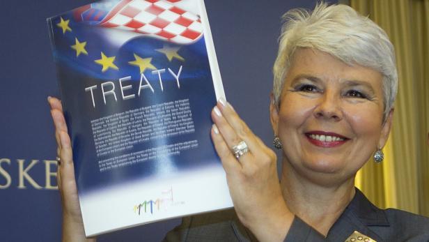 Ein strahlendes Lächeln für die EU: Ex-Premierministerin Jadranka Kosor unterzeichnete im Dezember den Beitrittsvertrag ihres Landes.