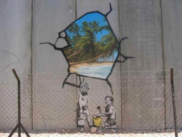 Ein Bild von Banksys Westjordanland-Reise vor zehn Jahren