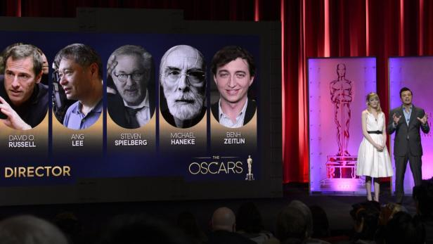 Hanekes Poträtfoto bei der Bekanntgabe neben seinen Konkurrenten um den Regie-Oscar
