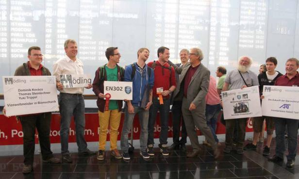 Jugend Innovativ 2014, Ankunft der Mödlinger Vizeweltmeister