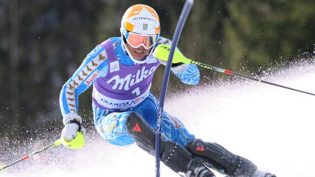 Andre Myhrer of Sweden in action during the Alpine Ski World Cups   Slalom men in Kranjska Gora, Slovenia,11  March 2012.Myhrer was first after the first run.  EPA/ANTONIO BAT