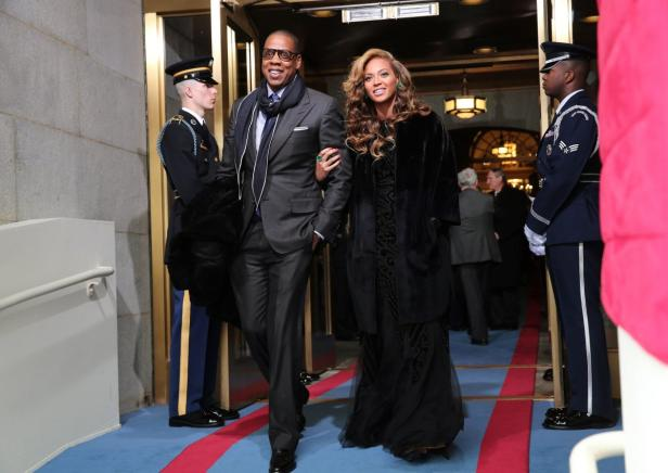 Recording artists Jay-Z and Beyonce arrive for the