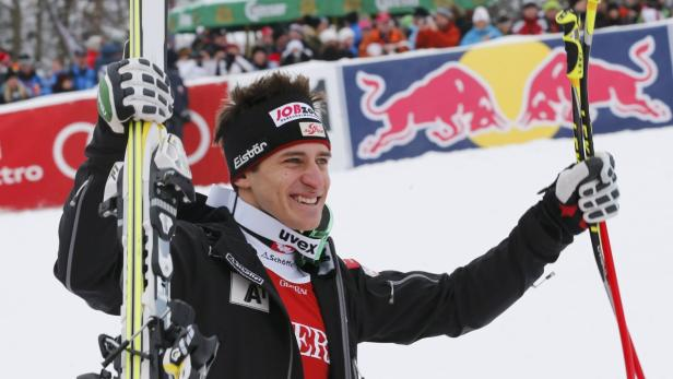 Second placed Mayer of Austria gestures after comp