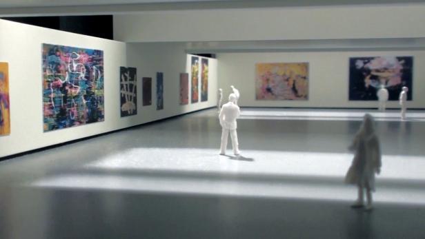 Modellansicht eines Ausstellungssaals: In die hohe Industriehalle wurden niedrigere Räume eingebaut