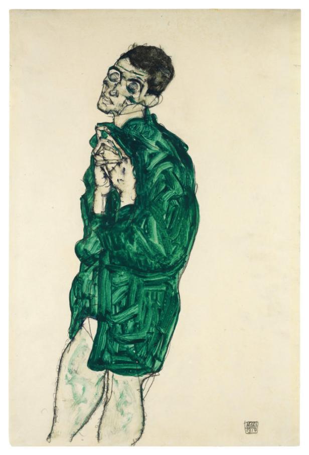 Schieles 'Selbstdarstellung in grünem Hemd' (1914)