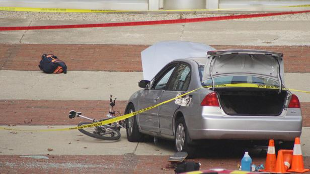 A car which police say was used by an attacker to