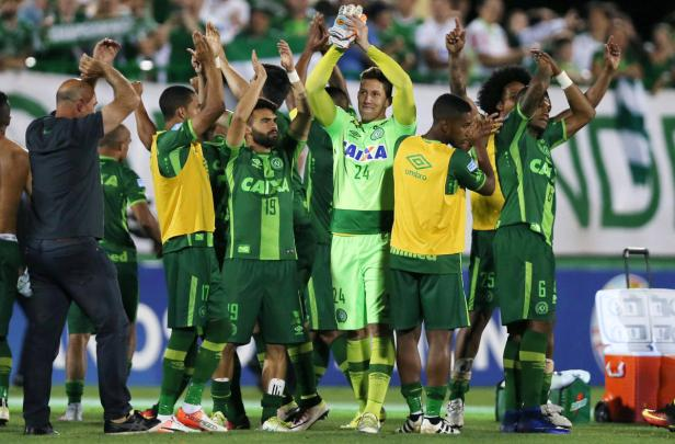 File photo of Chapecoense players celebrating afte