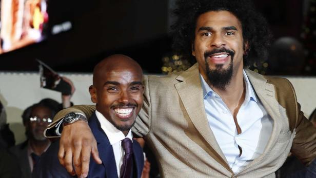 Prominente Premierengäste: Läufer Mo Farah und Boxer David Haye